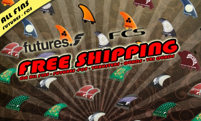 free shipping on fcs fins and futures fins