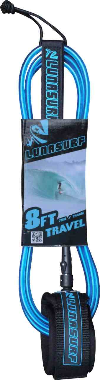 LUNASURF 8ft 7mm Travel Surfboard Leash Neon Blue