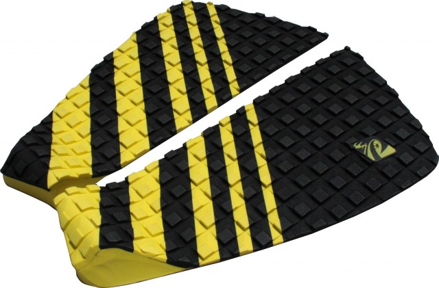 The Luansurf two piece tail pad in yellow and black