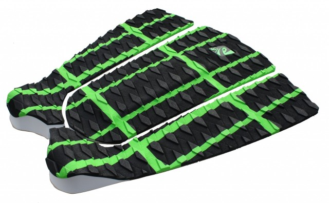 The Lunasurf three piece tail pad in green and black