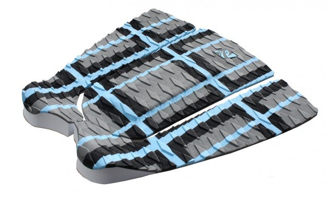 The Lunasurf three piece tail pad in Grey, blue and black.